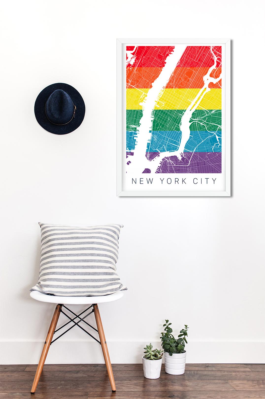 Gay New York Map.New York City Gay Pride Poster Pride Flag Art Pride Flag Print Pride