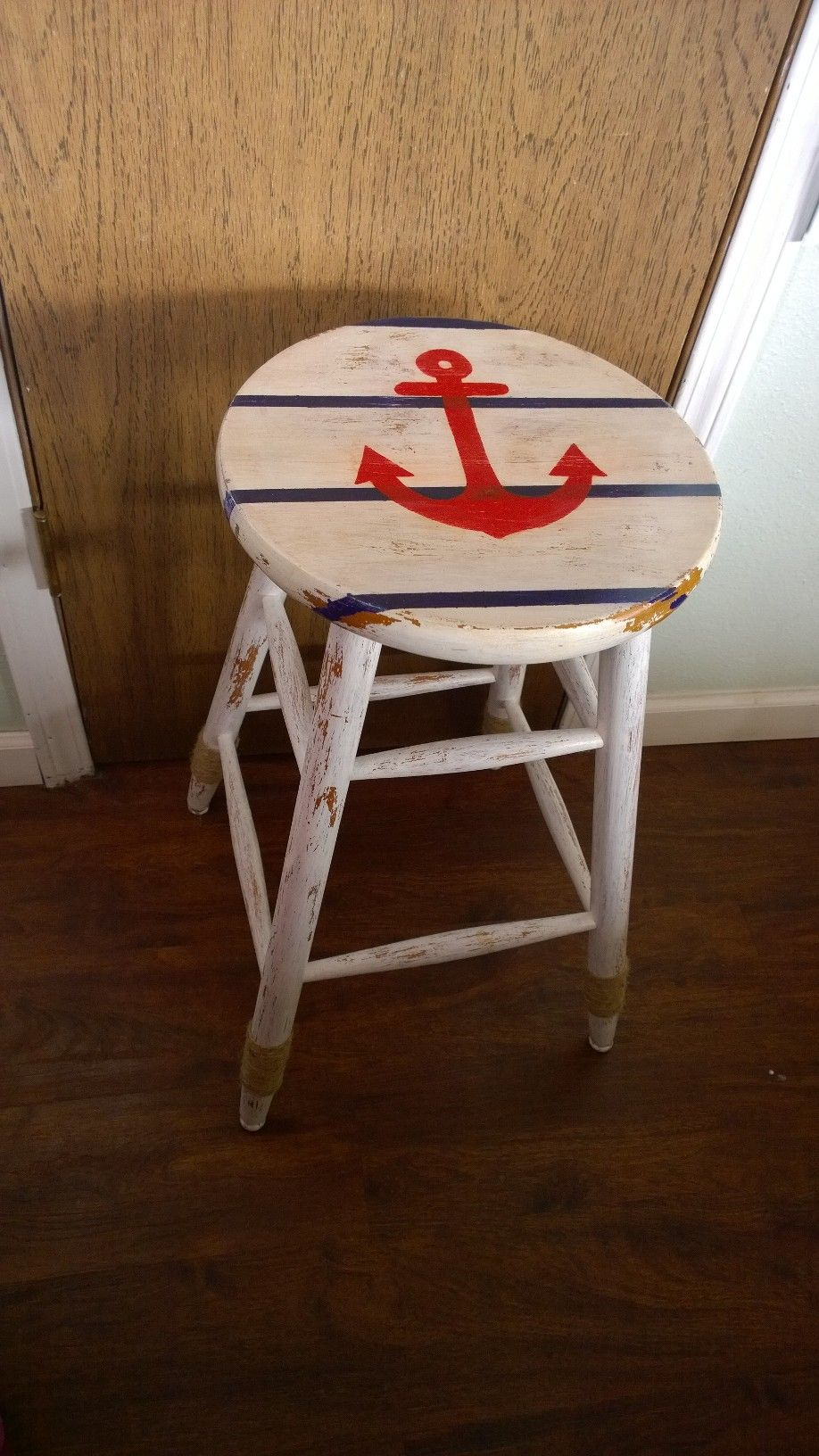 rope bottom chair teen office boring bar stool given a nautical update white washed distressed and around of legs