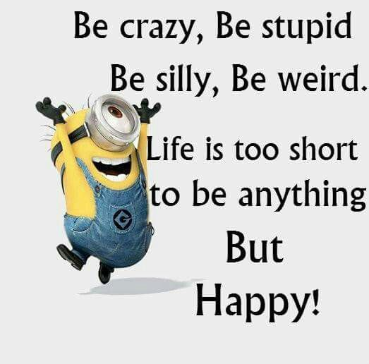 Hump Day Funny Minion Quotes: Be Crazy, Silly, Stupid, Weird .....life Is To Short To Be