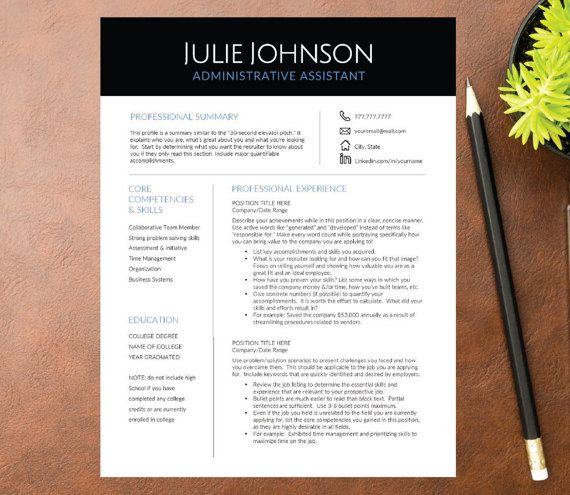 Professional Resume Template for Word A4  Letter ( 1, 2, 3+ page