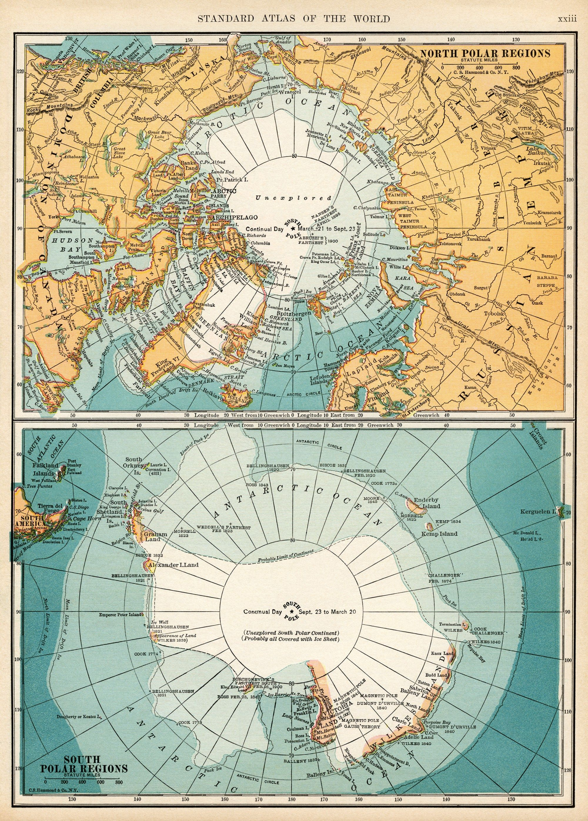 South Pole World Map.North And South Polar Regions Vintage Map Download Antique Map