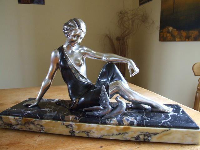 Art Deco Semi Clad Female On Marble Signed Godard.