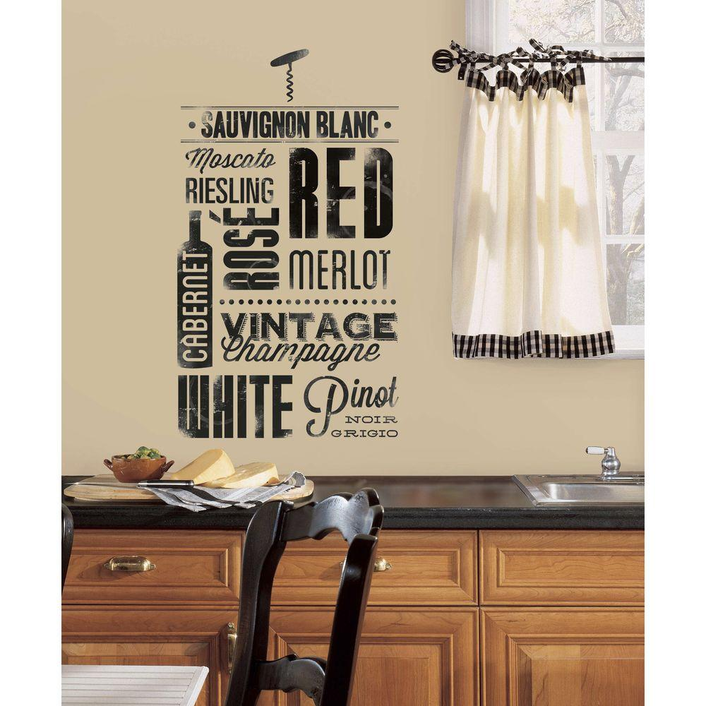 Roommates 5 In X 11 5 In Wine Lovers Peel And Stick Wall Decal