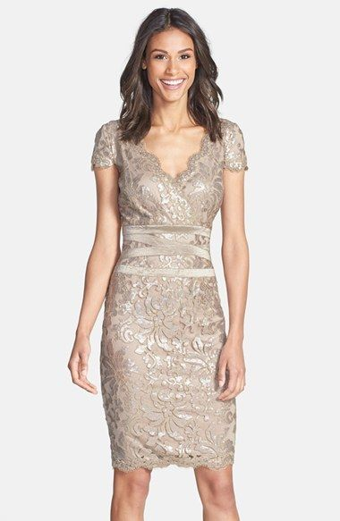 Tadashi Shoji Champagne Lace Mother Of The Bride Dress Sequin Embellished Sheath
