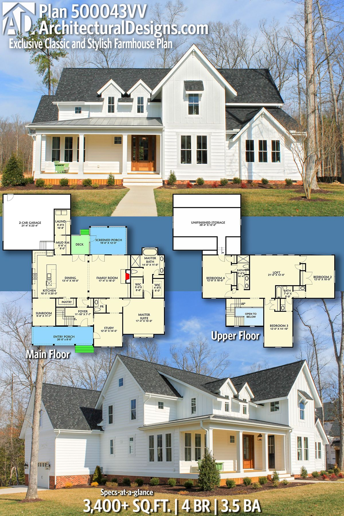 Plan 500043vv Exclusive Classic And Stylish Farmhouse Plan Farmhouse Plans House Plans Farmhouse Farmhouse Style House Plans