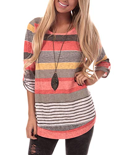 HUHHRRY Womens Casual Color Block Short Sleeve T Shirt Tunic Tops Blouse