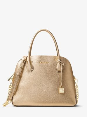 7c8b41c6df23 MICHAEL Michael Kors Mercer Large Metallic Leather Dome Satchel in ...