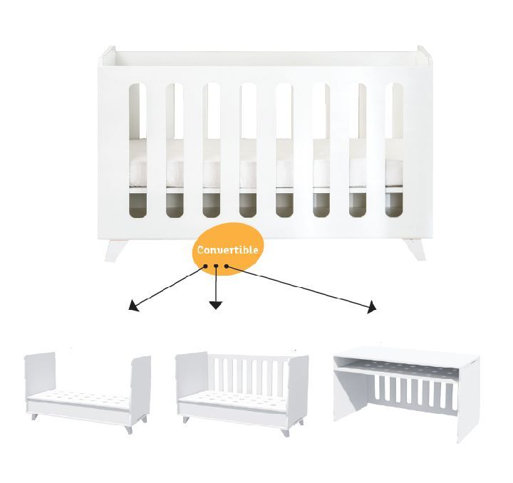 Babybed/babybed omvormbaar tot juniorbed/babybed omvormbaar tot zitbank/babybed omvormbaar tot bureau kamer Mont Blanc matrasmaat: 70x140cm - NOUKIE'S | ref. I-249563 | Paradisio