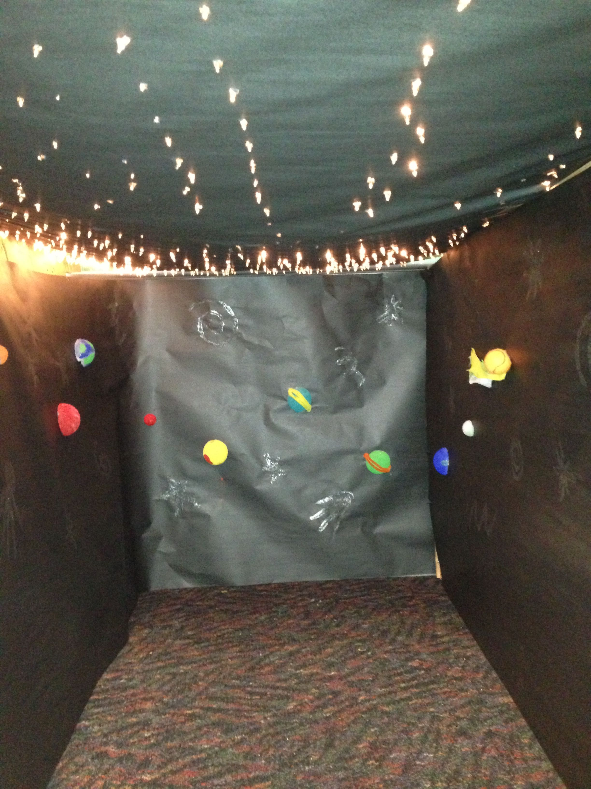 Planetarium Using Christmas Lights And Styrofoam Balls For