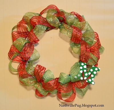 Christmas Wreath Made With Wire Ribbon Christmas Wired Ribbon Christmas Wreaths Christmas Ribbon