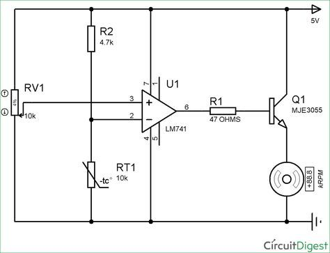 Circuit diagram of temperature controlled DC fan using