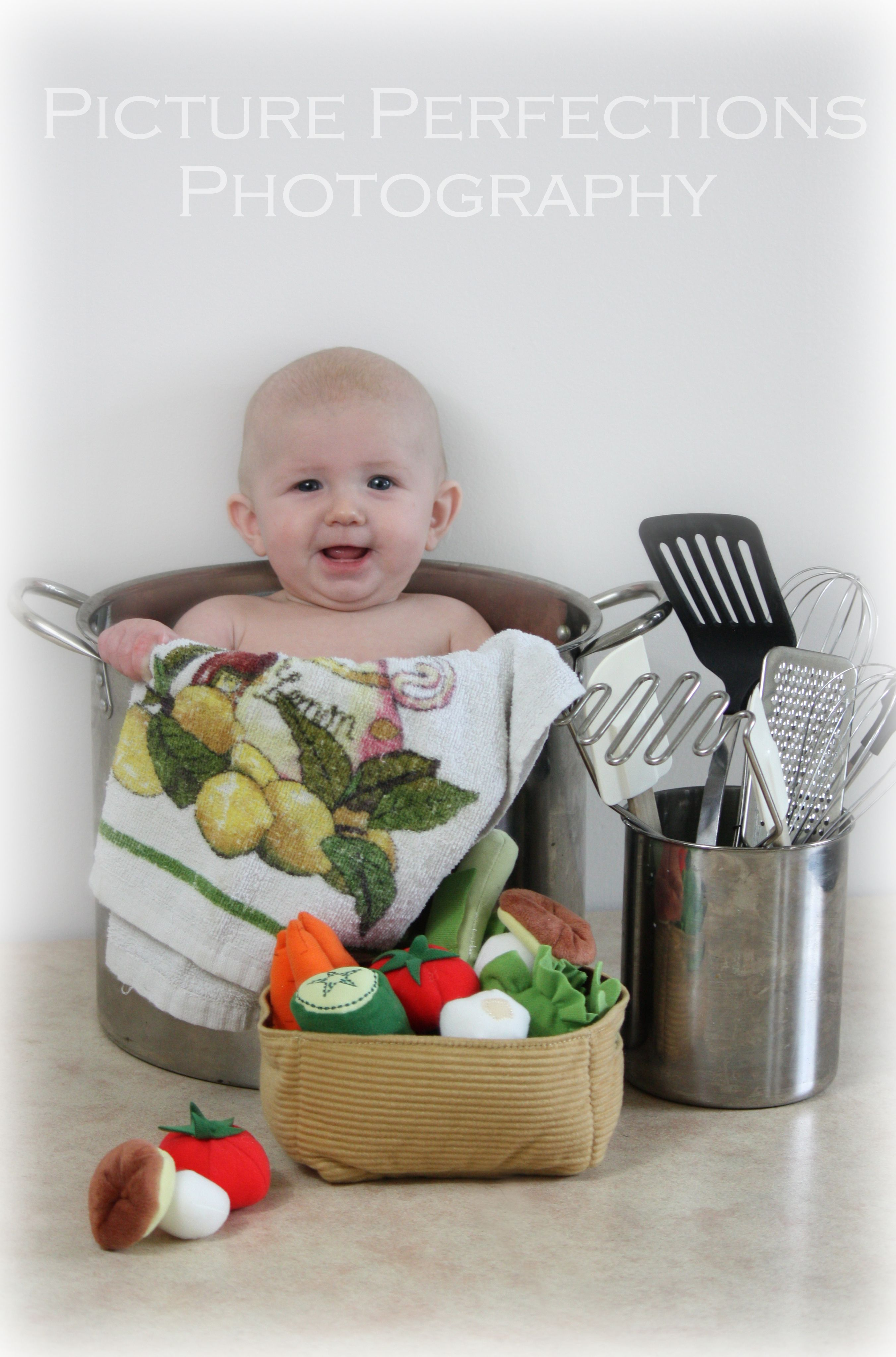 baby in a pot photo shoot kitchen utensils cooking iron chef