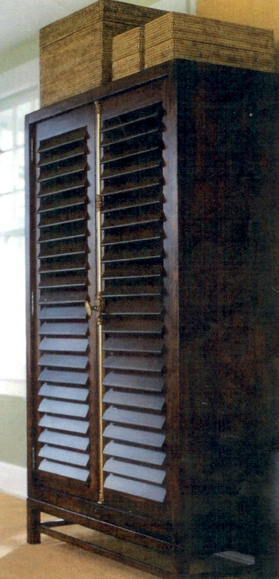 Louvered shuttered armoire, to keep your pressed shirts fresh
