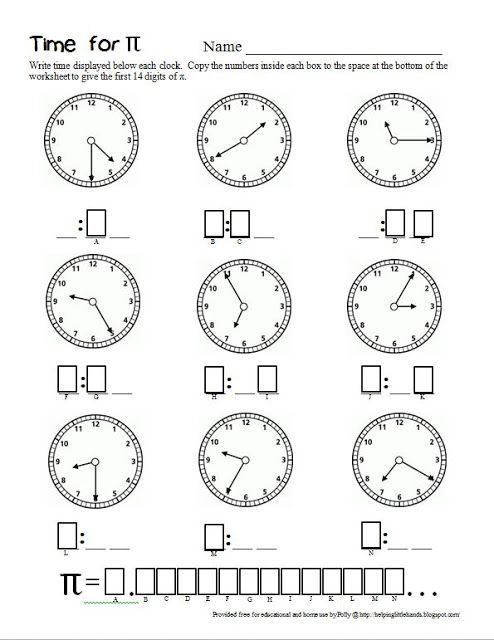 Time for Pi - Second Grade Math Worksheet for Pi-Day | Print: {Math ...