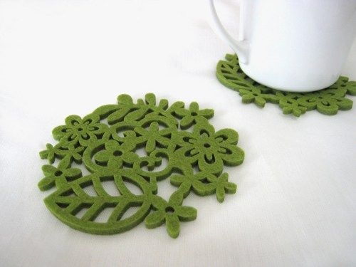 Spring Botanical Garden Moss Green Felt Coasters. Set Of Six. Leaves | SmilingCloud - Housewares on ArtFire