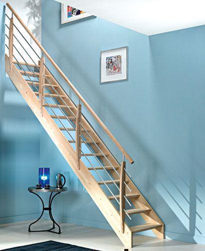 Escalier droit en bois (hêtre) OSLO haut2,80m larg80cm sans rampe
