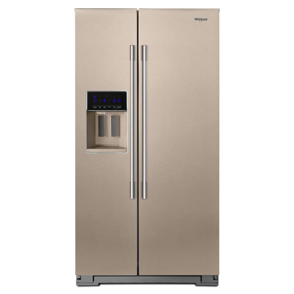 Whirlpool cu ft side by side refrigerator in fingerprint