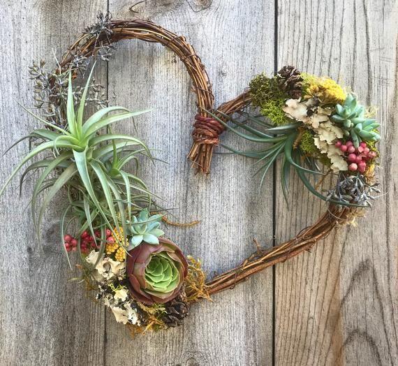 Photo of Vibrant air plant Succulent heart-vine wreath