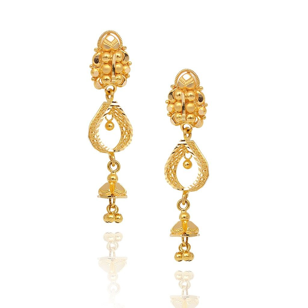 hallmark online yellow jewellers gold earrings jewellery cz jhumka long carat