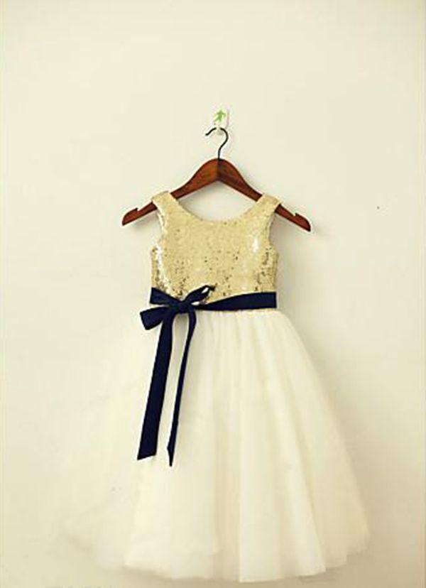 6f0f3cc6 Sparkly Sequin A-line Tea-length Flower Girl Dress Real Image Custom Jewel  Sash Pageant Birthday party/Christmas/ Rustic Wedding/ Baptis