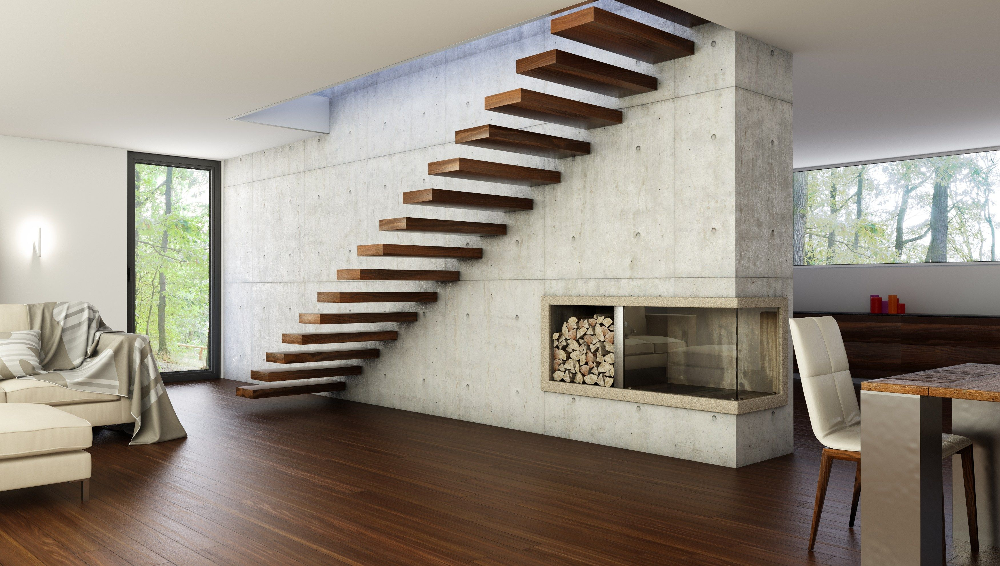 Wooden cantilevered staircase fireplace windows wood and