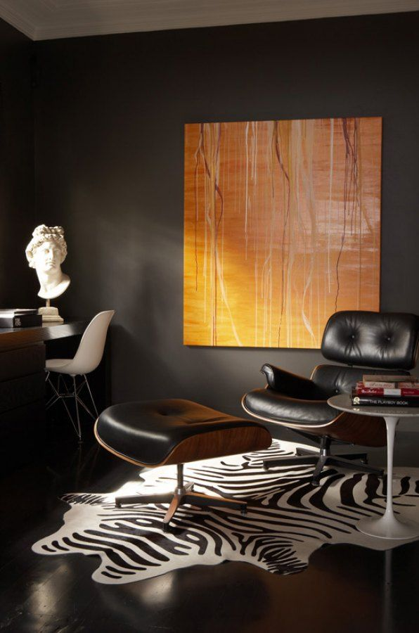 Dark Walls :: Masculine Room Via Greg Natale | Sydney Based Architects And  Interior Designers. Eames Lounge ChairsZebra ...