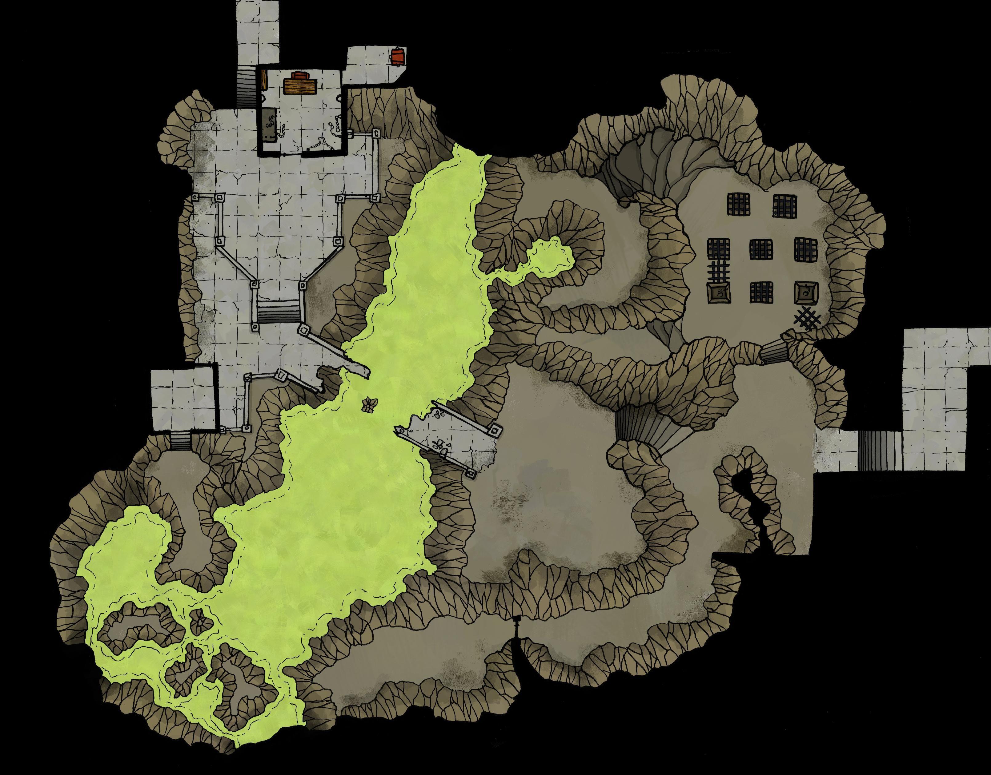 Ruined Dungeon in the Underdark : battlemaps | DnD Maps in 2019