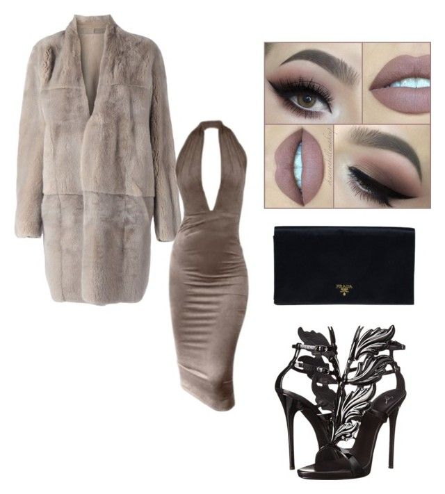 """fur coat looks"" by imenbudak ❤ liked on Polyvore featuring 32 Paradis Sprung Frères, Giuseppe Zanotti, Prada, outfit, Heels, dress and Zanotti"