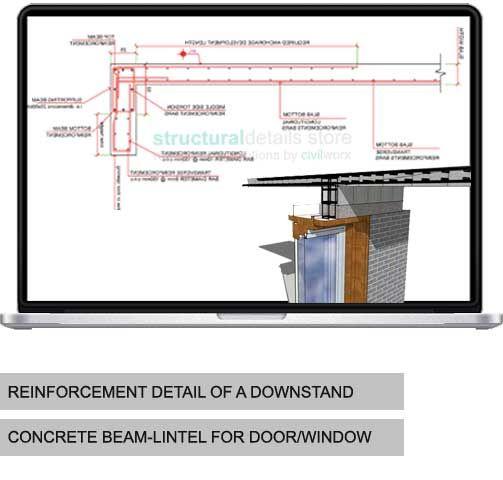 Reinforcement Detail Of A Downstand Concrete Beam Lintel For Door Window Opening Beams Windows And Doors Concrete