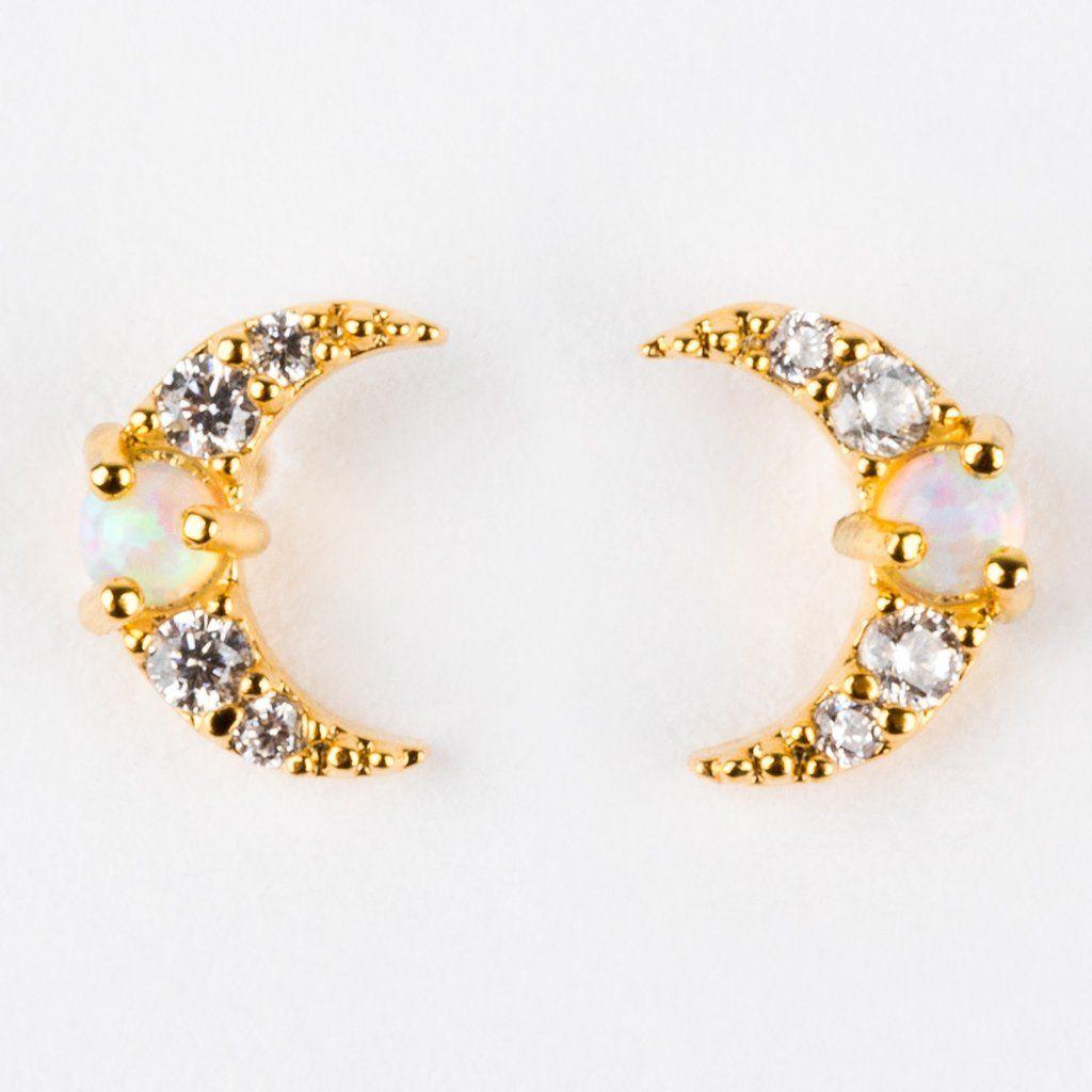 2b62bd931092f Mini Moon Opal Stud Earrings in 2019   2019 Birthday wishlist   Stud ...