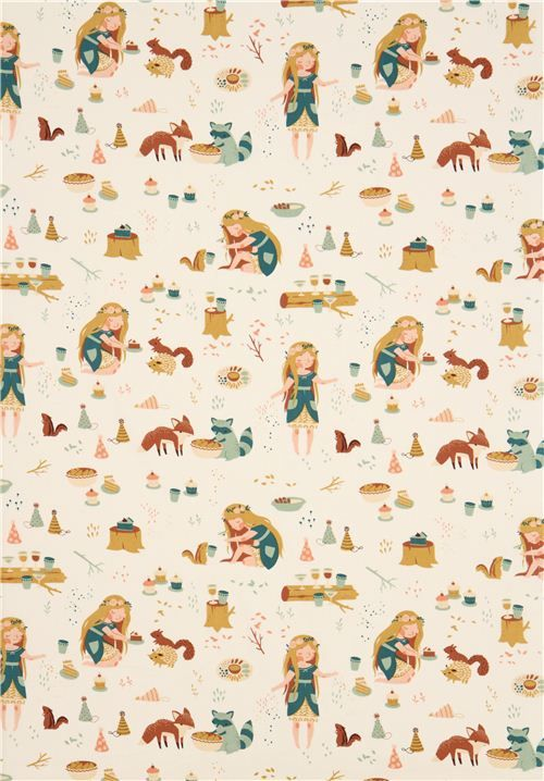 forest animals girl picnic organic fabric birch Fort Firefly 4
