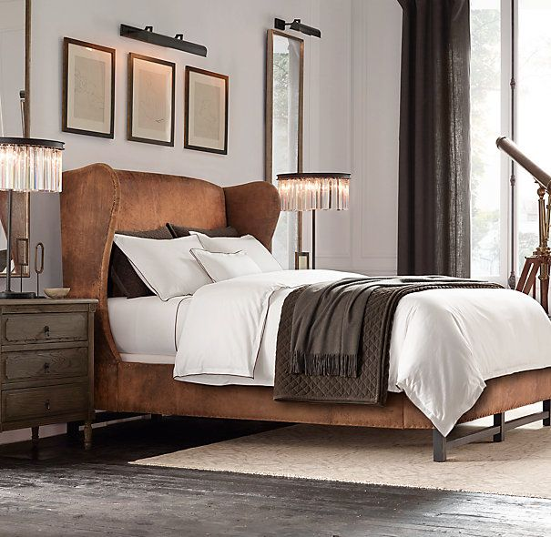French Wing Leather Bed Cottage Style Bedrooms Leather Bed Home