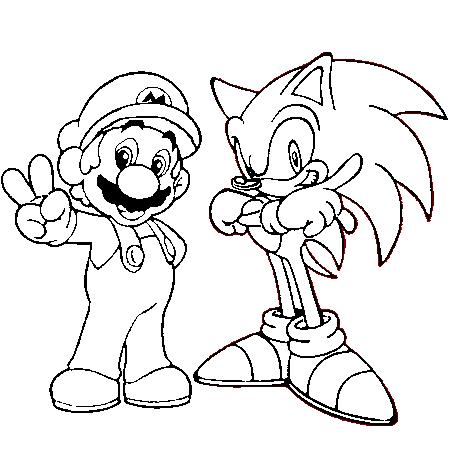 Dessin Mario Et Sonic A Colorier