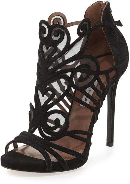 e195374f4 Tabitha Simmons - Suede Mesh Filigree Sandal  Lyst. heel shoes Black ...