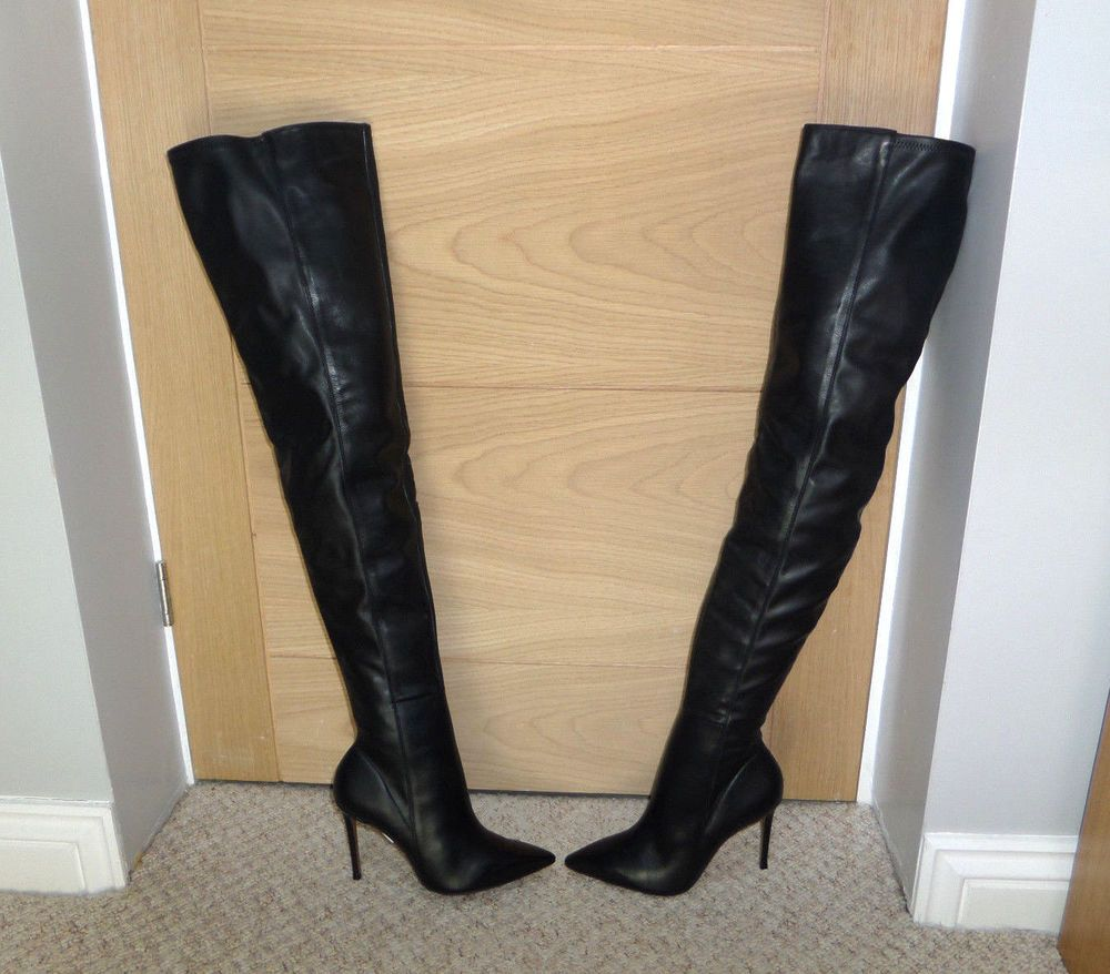 Bn Topshop Babette Leather Thigh High Dress Boots Over The Knee Uk 8