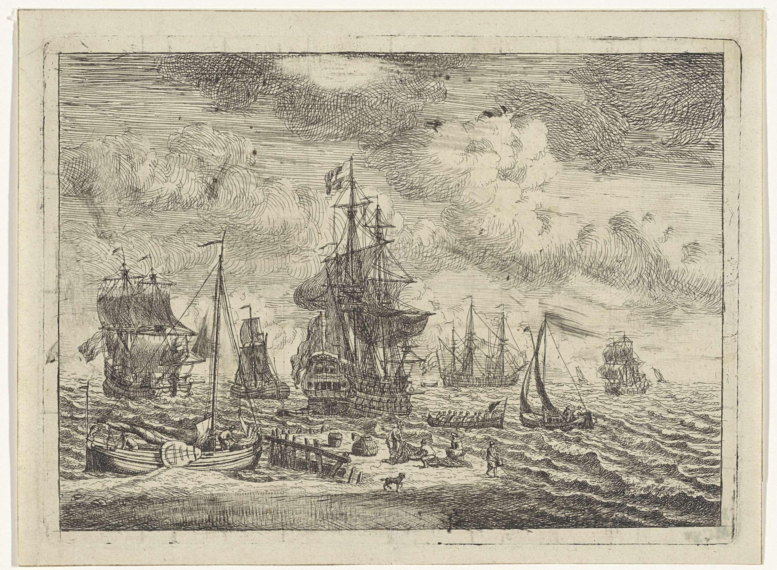 Adam Silo | Marine met zeilschepen voor een zandbank, Adam Silo, 1689 - 1760 | Een vissersboot ligt voor anker voor een zandplaat. Op de zandplaat zijn vissers in de weer met netten en fuiken. Op zee liggen grote marineschepen, vissersboten en een sloep met soldaten.
