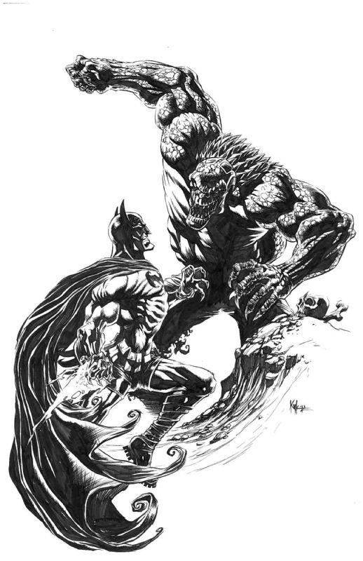 Batman vs Killer Croc by Kyle Hotz