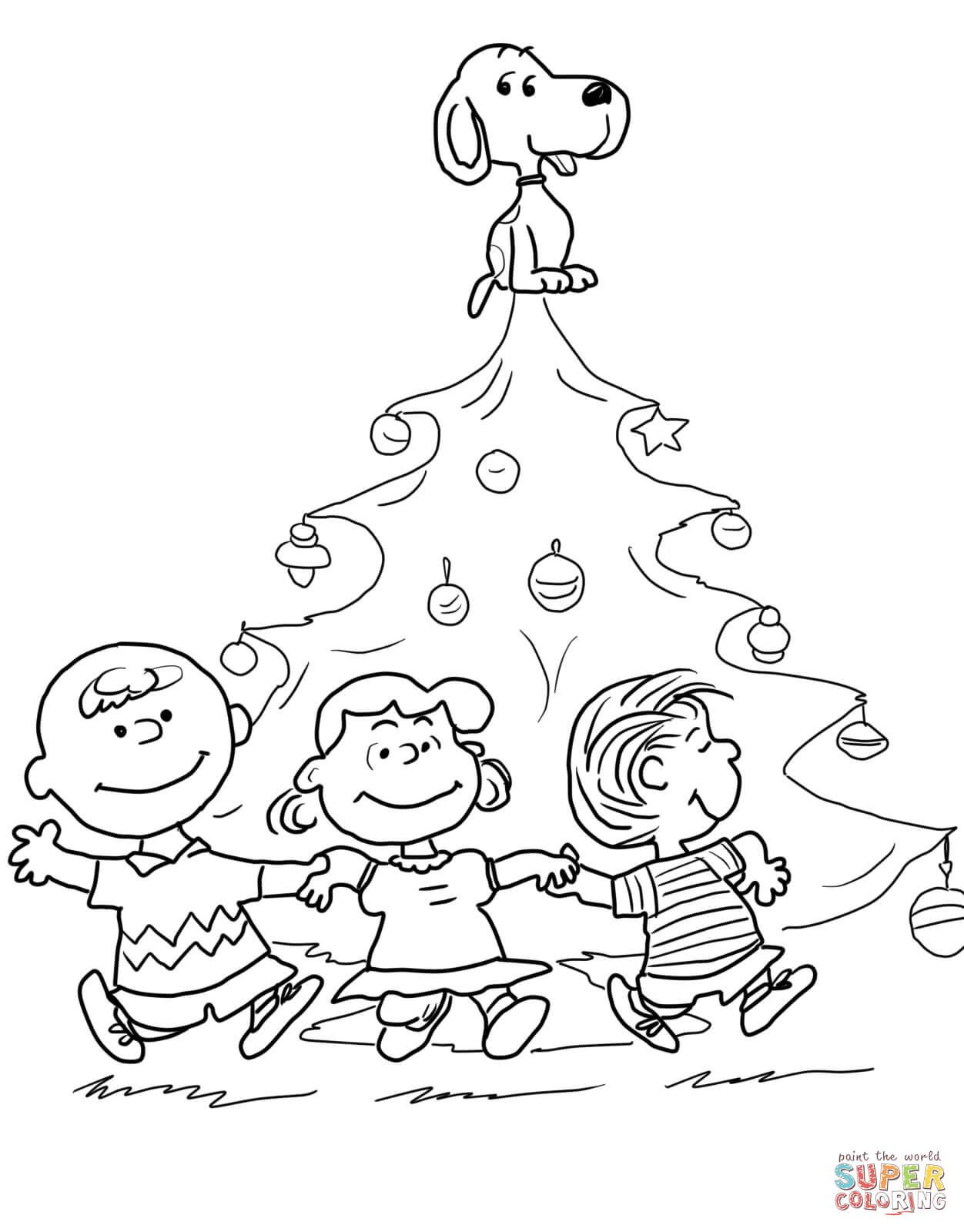 Charlie brown christmas tree coloring page from peanuts category