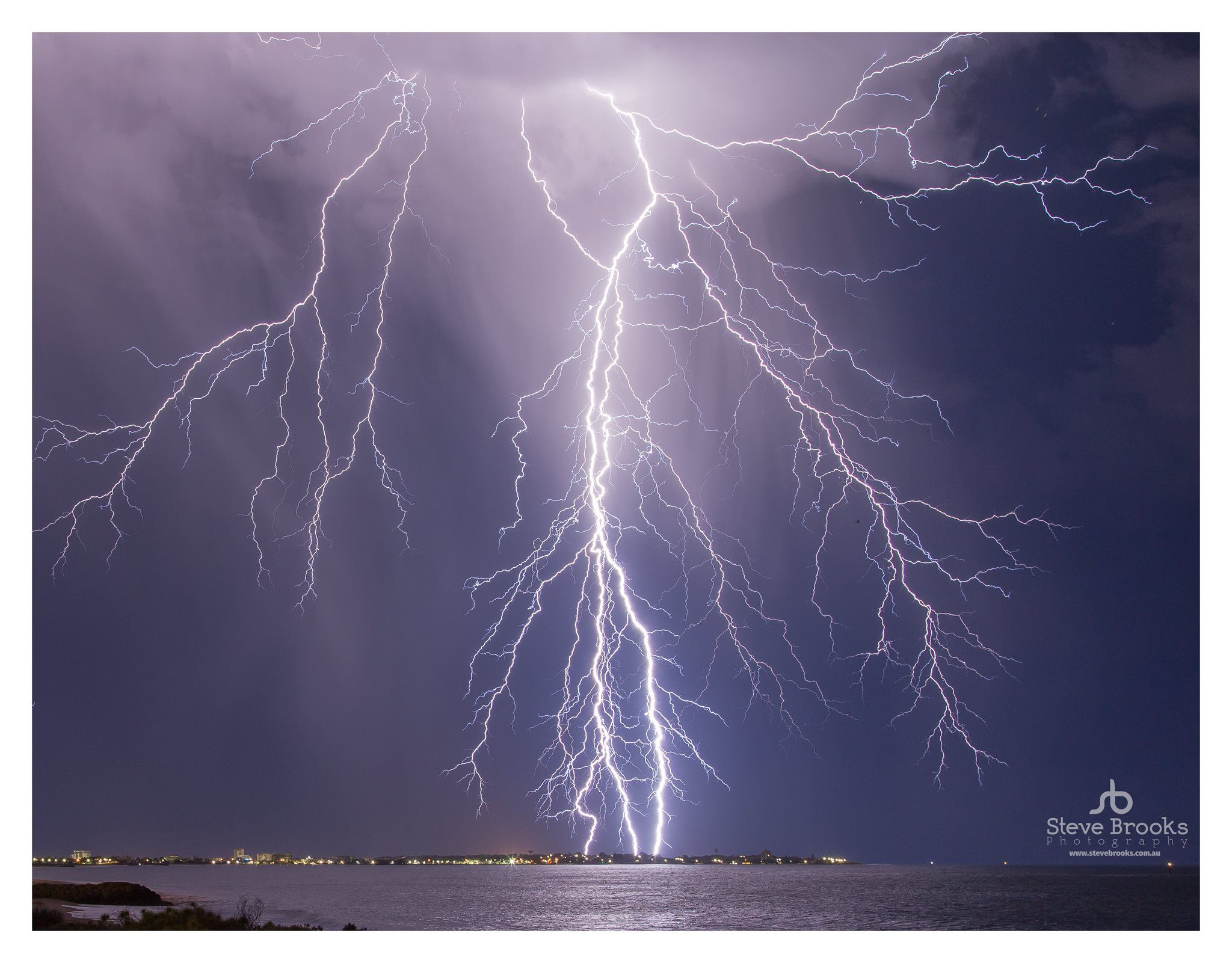 Summer Lightning Storm Over Mandurah In Western Australia Super