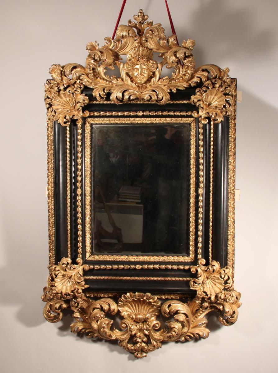 Beautiful #mirror in carved dark and #gilded #wood, made in #Italy ...