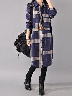 120240153af9 Blue Checkered Long Sleeve Shirt Collar Pockets Dress | Dress long sleev