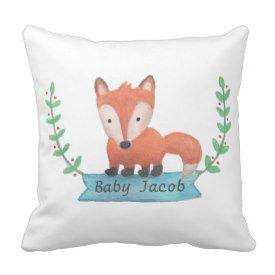 Cute Woodland Animal Fox Baby Nursery Room Decor Pillow