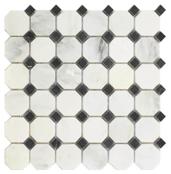 Grecian White 2 Octagon W 5 8 Black Dot Mosaic Polished 12x12 Black And White Marble White Mosaic Tiles Diamond Tile