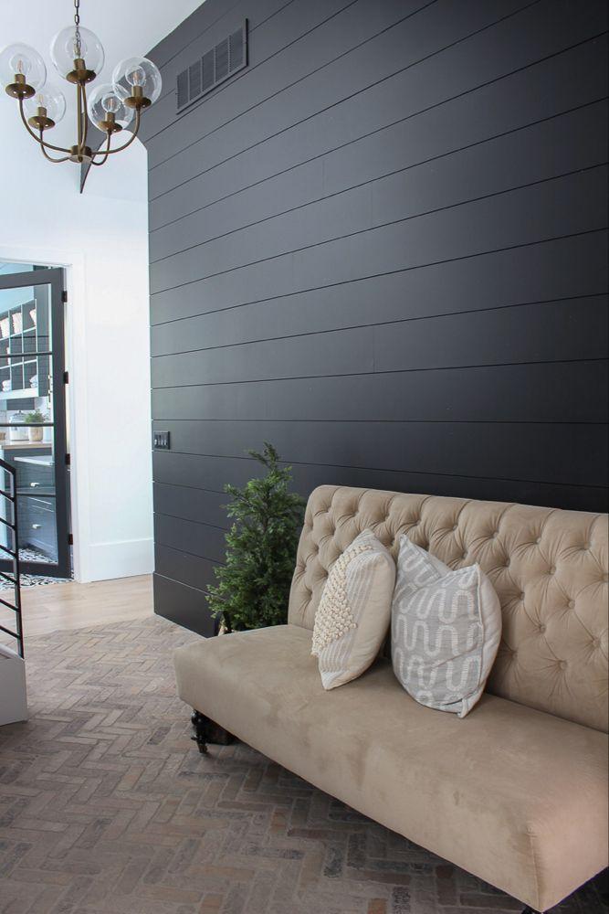 Our Black Mudroom With Brick Herringbone Floors Accent