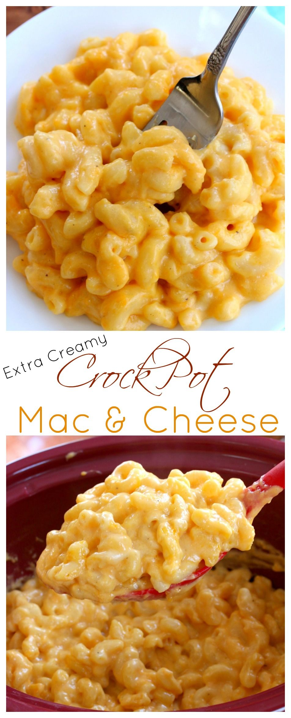 This extra creamy crock pot mac and cheese is easy to make & a universal crowd-pleaser! It takes minutes to prepare and the crock pot does the rest.