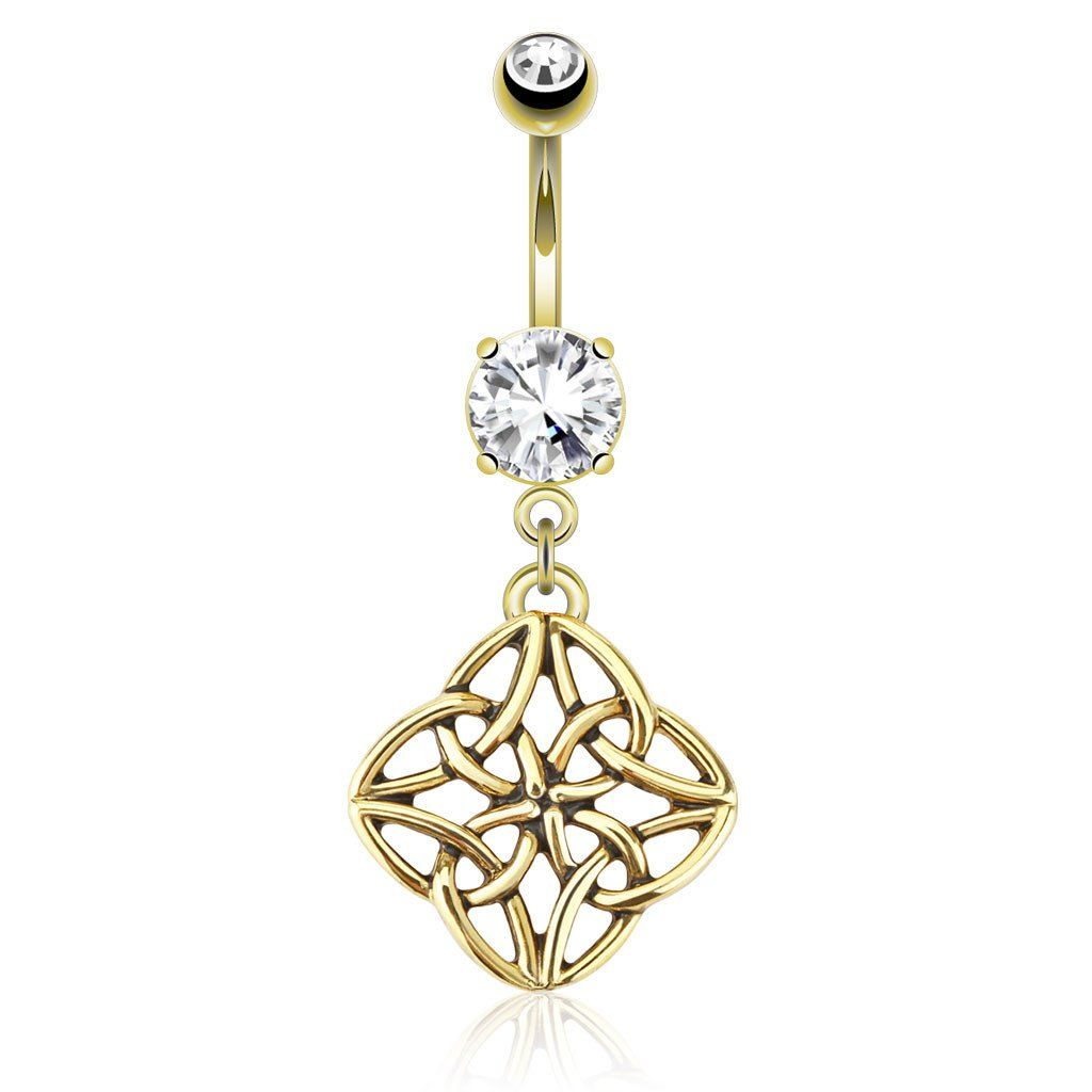 Belly button piercing without jewelry  Gold Flower Knot Dangle Belly Button Ring  Belly button Dangles