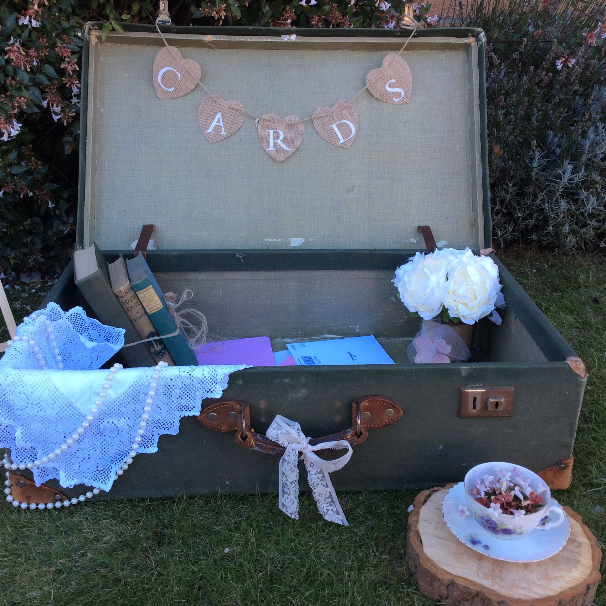 Military green vintage 1940s suitcase dressed here for wedding cards ...