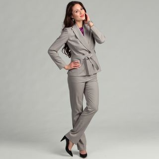 Tahari Women's Grey Belted Pant Suit by Tahari | Grey, Suits and Pants