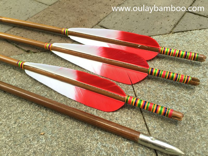 Diameter:7mm Length:31inch Spine rate:40~45# Fletchings:Mixed color turkey feathers Arrow tips:silver bullet tips