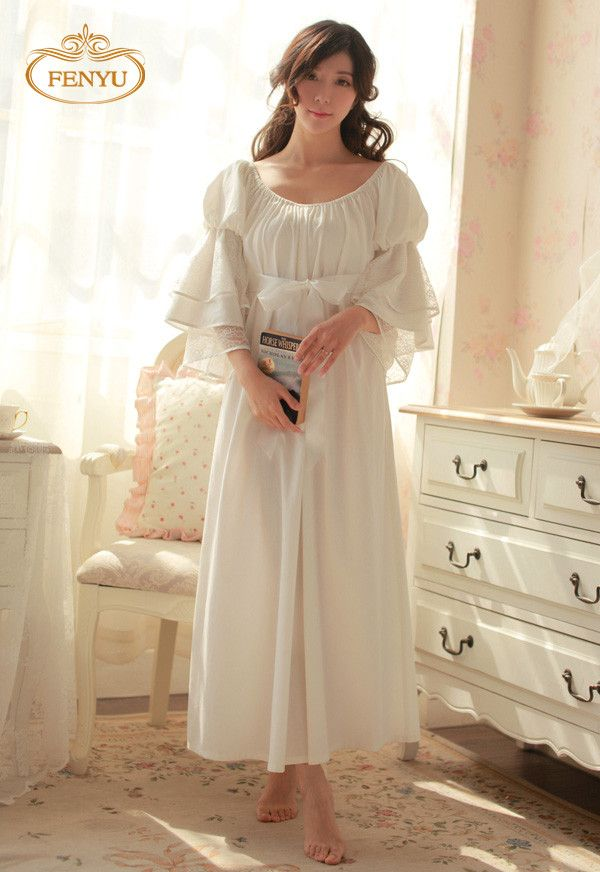 Free Shipping 100% Cotton Nightgown Princess Nightdress Royal pijama Ladies  Sleepwear Long White Women nightwear roupao feminino 1a1cf0005